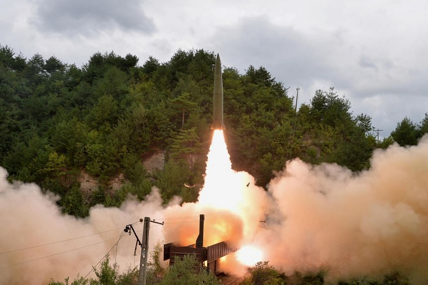 A missile launched during a drill of the Railway Mobile Missile Regiment in North Korea, on Sept 16, 2021.