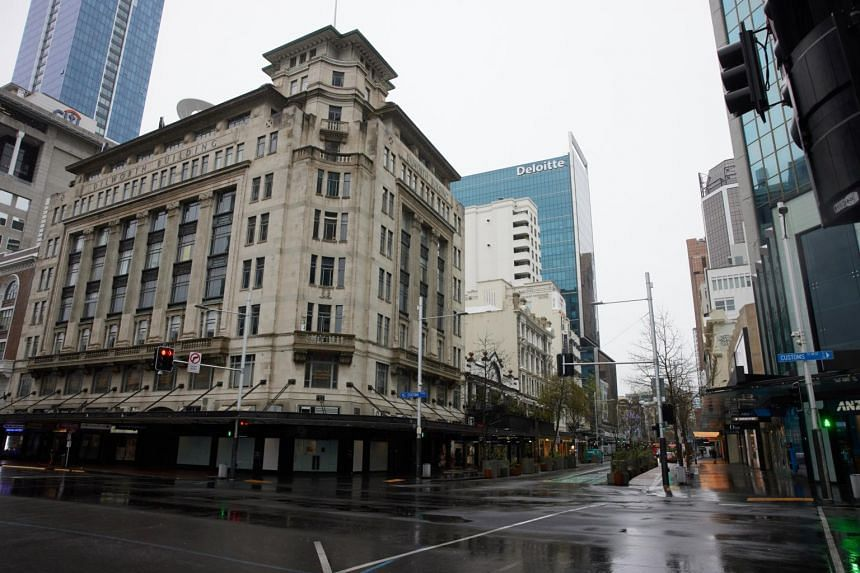 Deserted streets in Auckland's central business district on Sept 16, 2021.