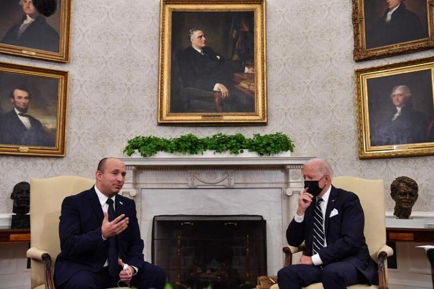US President Joe Biden meets with Israeli Prime Minister Naftali Bennett in the Oval Office in Washington, DC, on Aug 27, 2021.