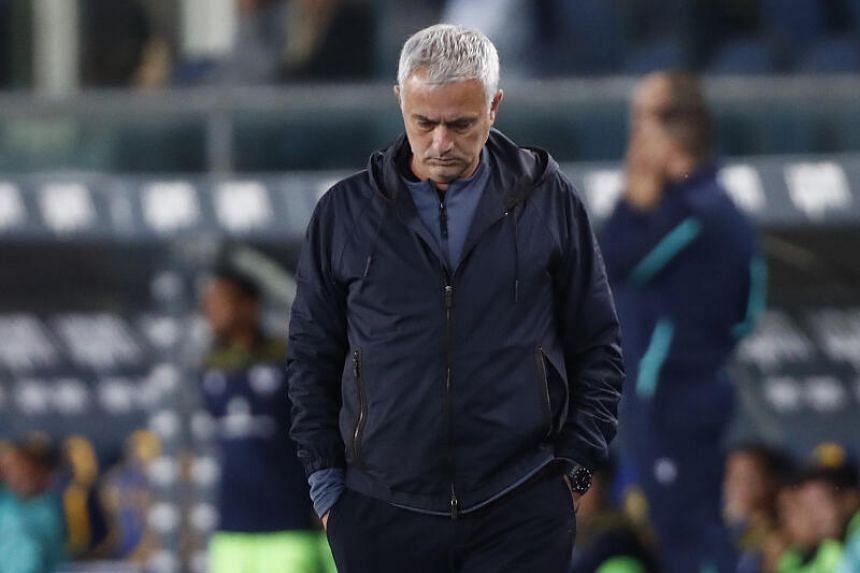 AS Roma coach Jose Mourinho looks dejected in Verona, Italy.