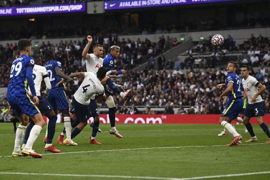 Chelsea's Thiago Silva (centre) scores the 1-0 lead in London, Britain, on Sept 19, 2021.