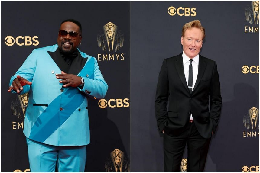 Cedric the Entertainer (left) and talk show host Conan O'Brien at the 73rd Primetime Emmy Awards at L.A. LIVE in Los Angeles, California, on Sept 19, 2021.