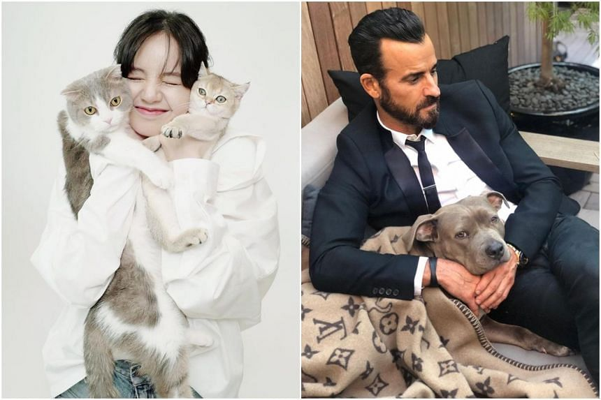 Blackpink's Lisa with her cats and Justin Theroux with his pooch, Kuma.