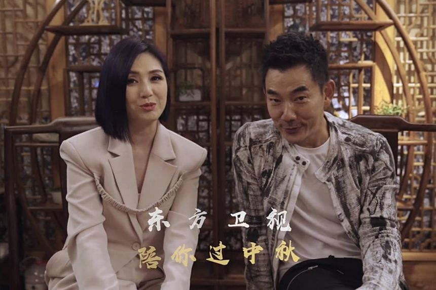 Hong Kong singer Miriam Yeung (left) and Taiwanese singer Richie Jen in a video for Dragon TV's Mid-Autumn Festival gala.