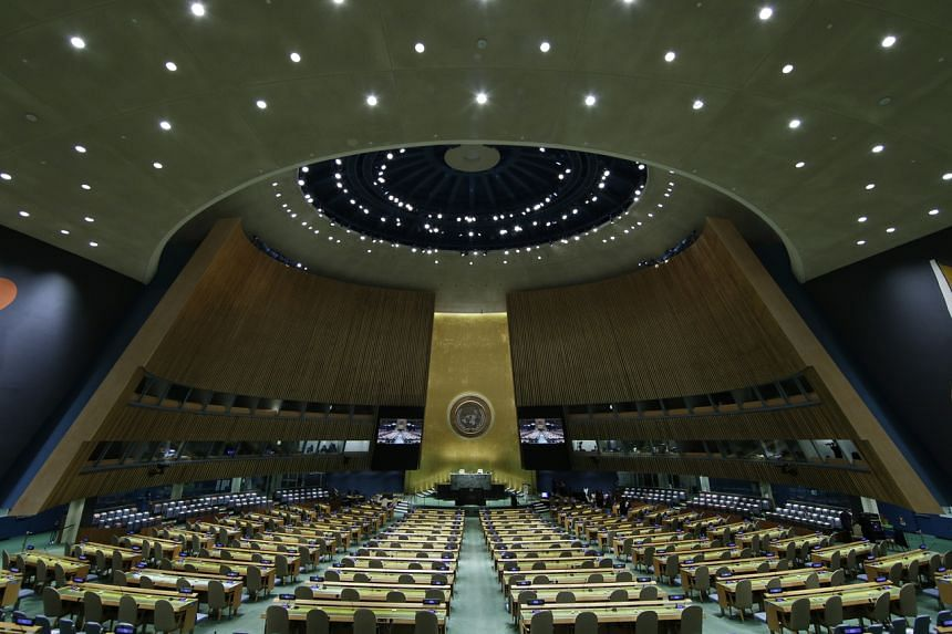 The UN General Assembly Hall is empty before the 76th session General Debate at United Nations Headquarters in New York, on Sept 20, 2021.
