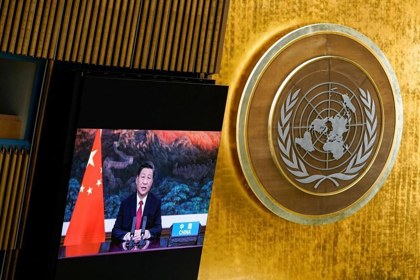 Chinese President Xi Jinping speaks remotely during the 76th Session of the General Assembly at UN Headquarters in New York.