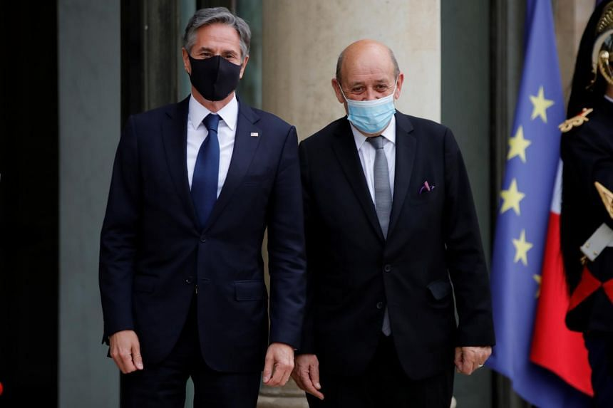 Mr Antony Blinken (left) and French Foreign Minister Jean-Yves Le Drian at the Elysee Palace in Paris, France, on June 25, 2021.