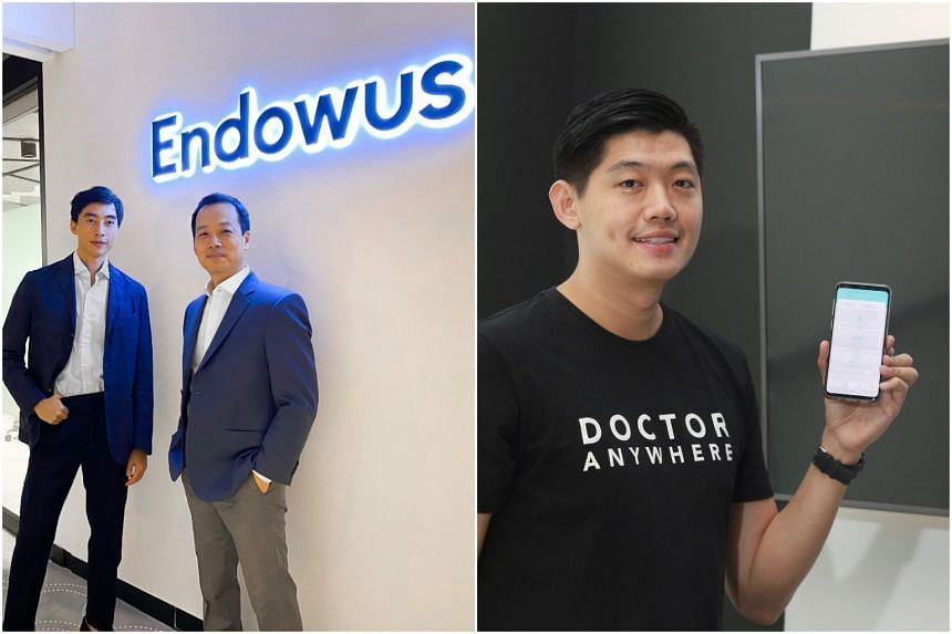 Endowus chief executive Gregory Van (left) and chairman Samuel Rhee, and Doctor Anywhere CEO Lim Wai Mun (right).