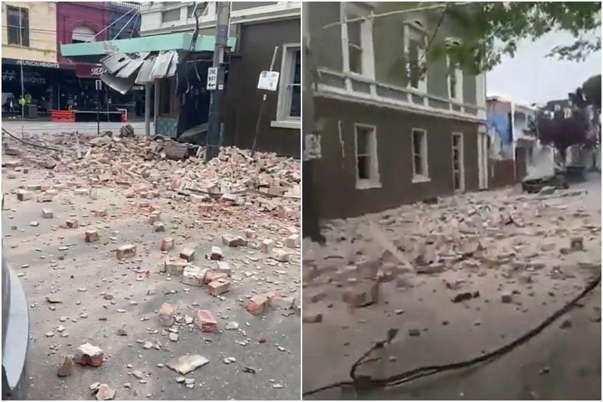 Social media images showed rubble on Melbourne's streets.