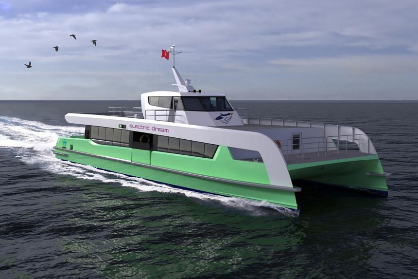 An artist's impression of the Shell Bukom electric ferry. The battery-operated 200-seat single-deck vessels are expected to set sail in the first half of 2023.