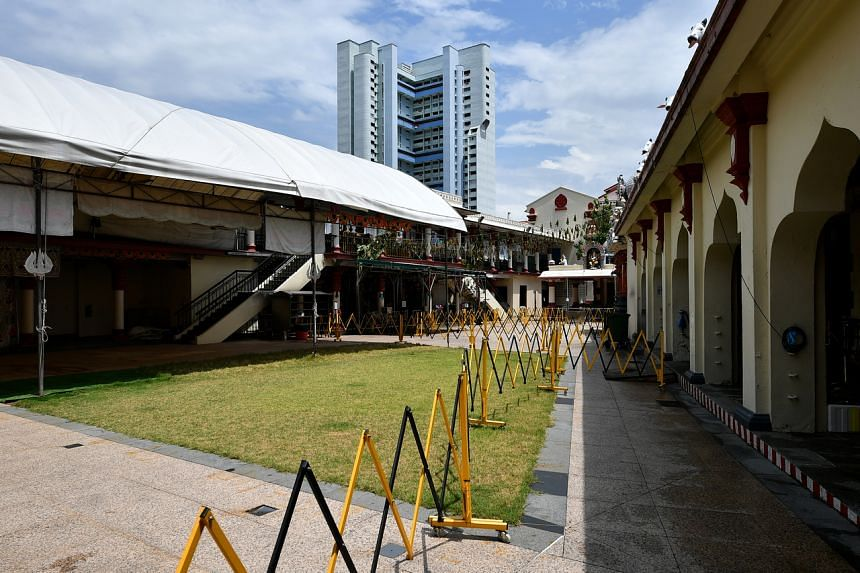 The area which will be used for the fire-walking ritual, inside the Sri Mariamman Temple.