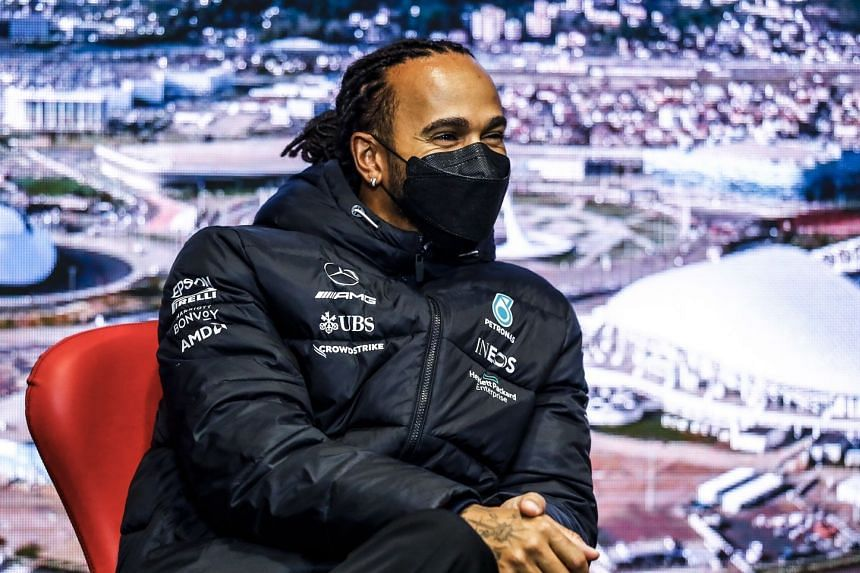 Mercedes' Lewis Hamilton reacts during a press conference ahead of the Russian grand prix.