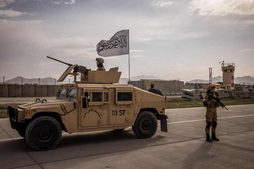 Members of the Taliban at the airport in Kabul on Sept 3, 2021.