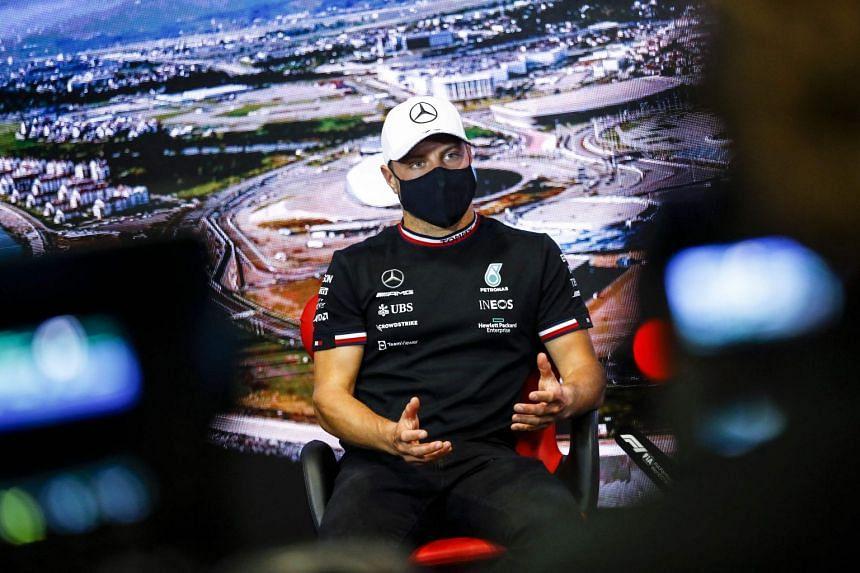 Mercedes' Valtteri Bottas addresses the drivers' press conference ahead of the Russian grand prix.