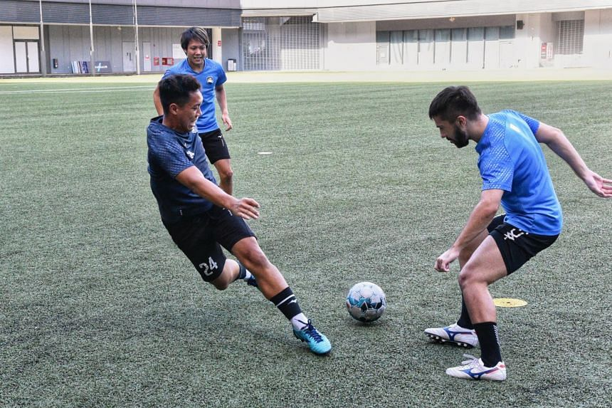 A Tampines Rovers training session at Our Tampines Hub on Sept 23, 2021.