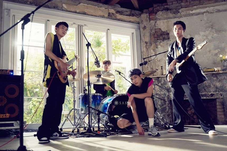(From left) Taiwanese band noovy's bassist Jacob, drummer Mark, lead singer Shawn and guitarist JK.