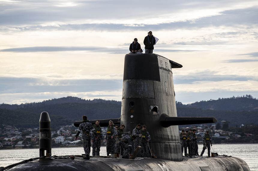 A photo from the Australian Navy showing the submarine HMAS Sheean during a port of call in Hobart, Tasmania, on April 1.