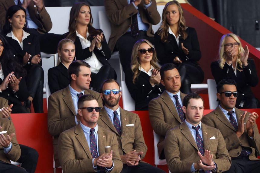 Team USA's Bryson DeChambeau, Dustin Johnson, Scottie Scheffler, Xander Schauffele, Tony Finau and Patrick Cantlay are pictured during the opening ceremony.