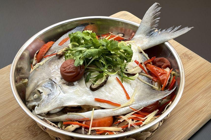 Teochew-style steamed pomfret.