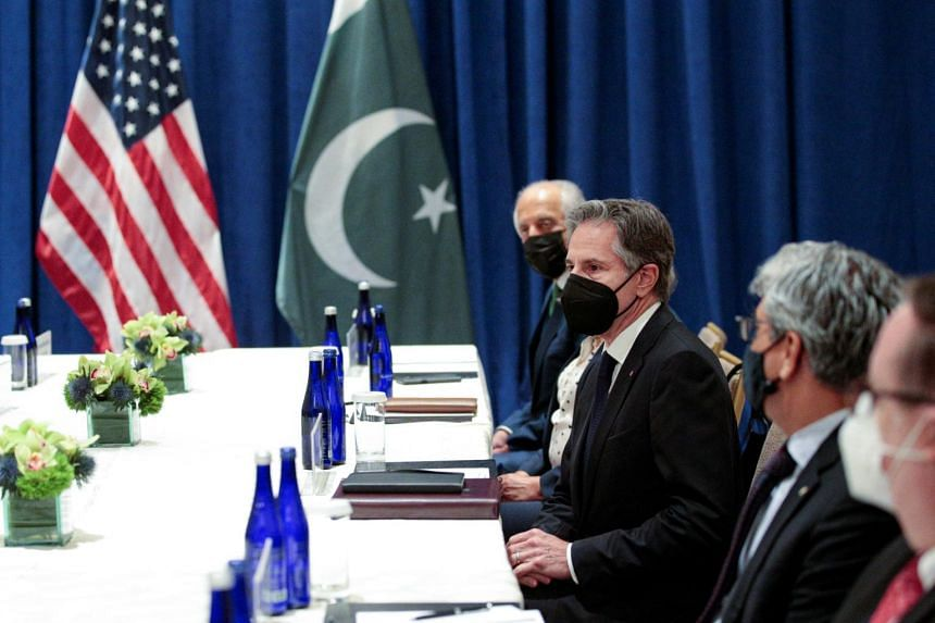 Mr Antony Blinken (centre) meets with his Pakistani counterpart (not pictured) on the sidelines of the 76th Session of the U.N. General Assembly in New York, on Sept 23, 2021.
