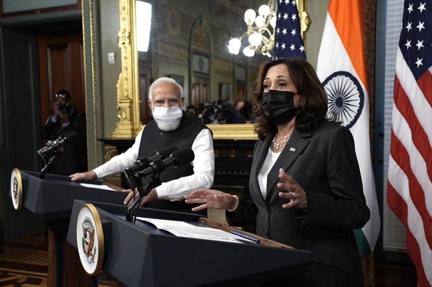 "India's Prime Minister Narendra Modi (left) praised US Vice-President Kamala Harris, referring to her as an ""inspiration""."
