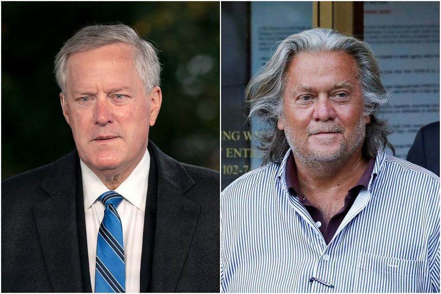 Former White House Chief of Staff Mark Meadows (left) and former Trump political adviser Steve Bannon were among those subpoenaed.