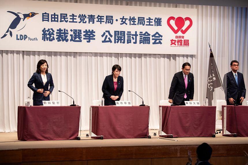 (From left) Ms Seiko Noda, Ms Sanae Takaichi, Mr Fumio Kishida and Mr Taro Kono attend a debate organised by the Liberal Democratic Party in Tokyo, on Sept 20, 2021.
