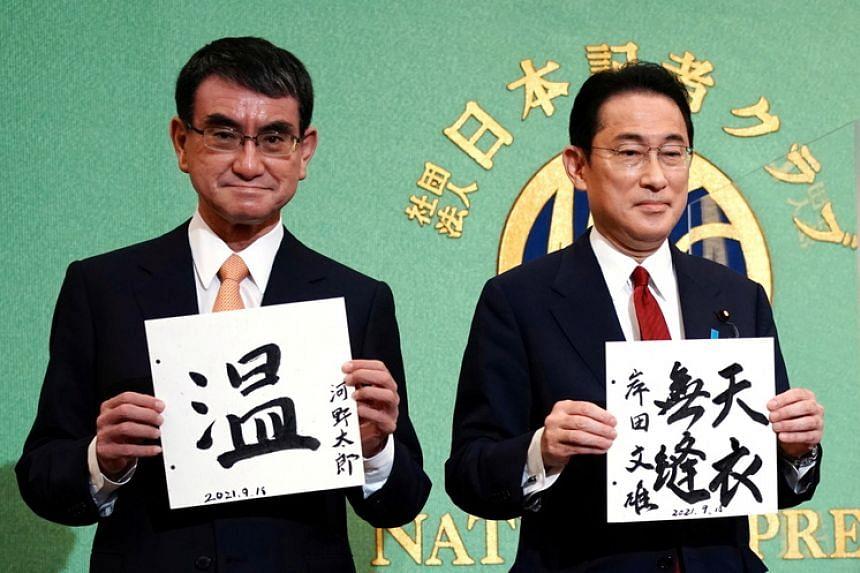 Mr Taro Kono (left) and Mr Fumio Kishida have pledged to focus more on boosting household wealth.