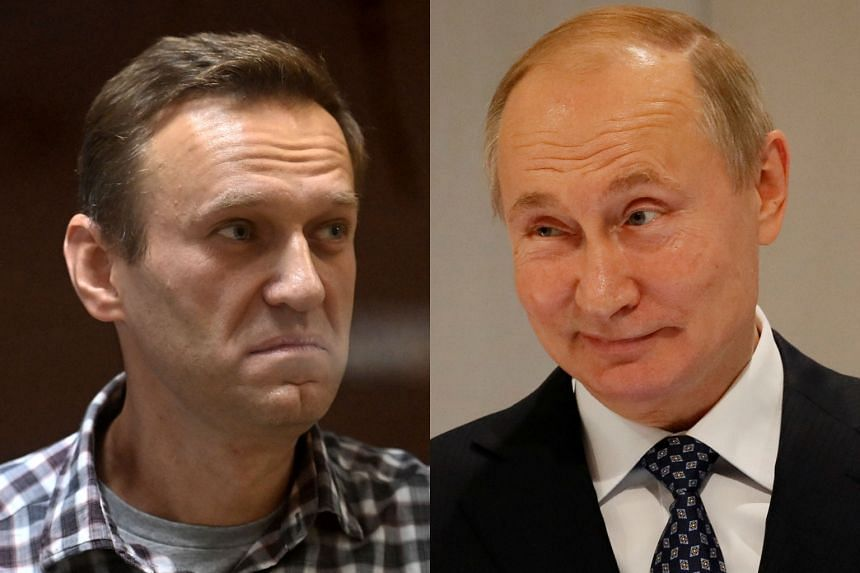Jailed opposition leader Alexei Navalny (left) accused Russian President Vladimir Putin (right) of forging the election results.