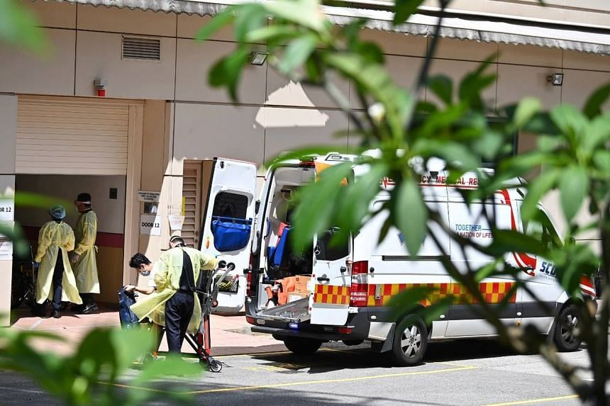 An ambulance arriving with a patient outside the emergency department of Tan Tock Seng Hospital, on Sept 24, 2021.