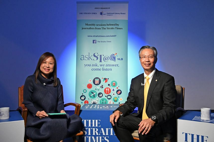 ST travel editor Lee Siew Hua and Pan Pacific Hotels Group's chief executive Choe Peng Sum during an askST@NLB session.