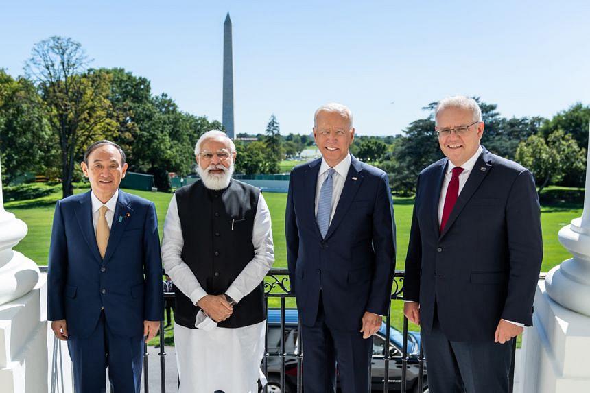 (From left) Japanese Prime Minister Yoshihide Suga, Indian Prime Minister Narendra Modi, US President Joe Biden and Australian Prime Minister Scott Morrison at the White House.