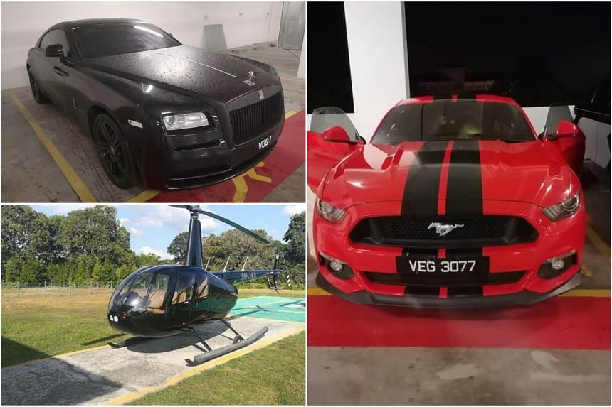 A Rolls-Royce Phantom, Mustang and a helicopter were among those seized