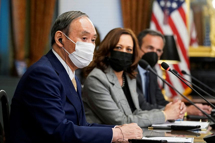 Japanese PM Yoshihide Suga (left) and US Vice-President Kamala Harris during a meeting in Washington, on Sept 24, 2021.