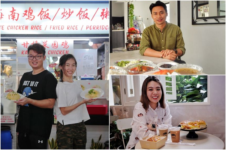 Siblings Lex and Natalie Lee of Ah Five Chicken Rice (left), Mr Firdaus Sani with dishes from his Orang Laut food delivery (top right) and Ms Hoh Loyi of Champion Bolo Bun.