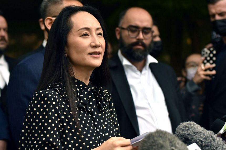 Huawei chief financial officer Meng Wanzhou talks to the media at British Columbia Supreme Court, on Sept 24, 2021.