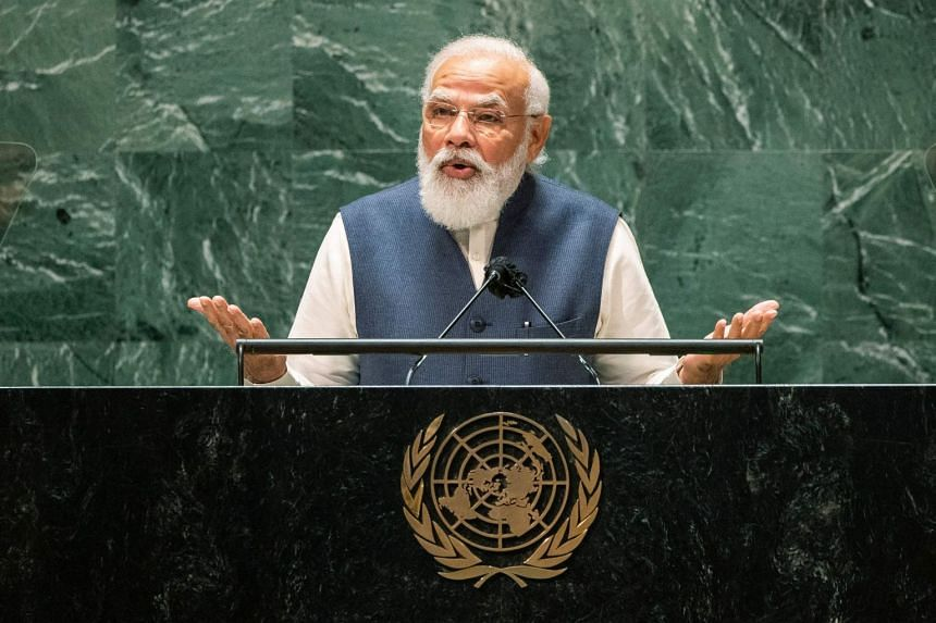 Indian PM Narendra Modi addresses the 76th session of the United Nations General Assembly in New York, on Sept 25, 2021.