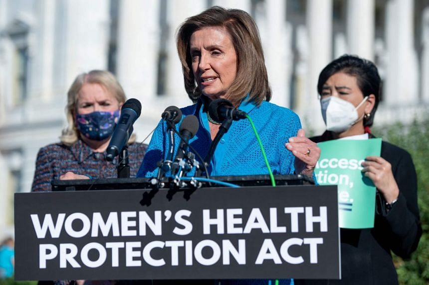 """US Speaker of the House Nancy Pelosi speaks to media on the """"Women's Health Protection Act"""" outside the US Capitol, on Sept 24, 2021."""