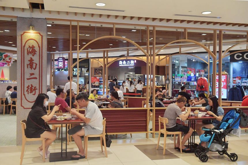 People dining at The Hainan Second Street restaurant at the IMM building in Jurong East on Sept 25, 2021.