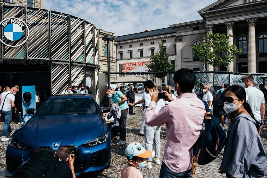 BMW's new electric i4 on display at IAA Mobility in Munich earlier this month.