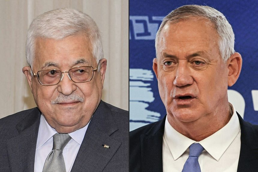 Palestine Authority President Mahmoud Abbas (left) and Israeli Defence Minister Benny Gantz.