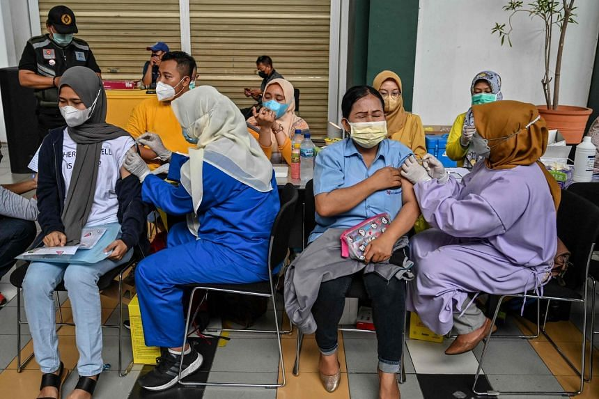 Only 17.9 per cent of Indonesia's 270 million people are fully vaccinated.