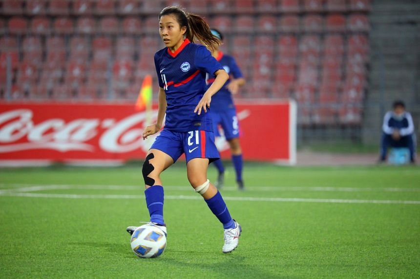 Singapore's Venetia Lim in action during the AFC Women's Asian Cup match against Indonesia in Dushanbe, Tajikistan, on Sept 27, 2021.