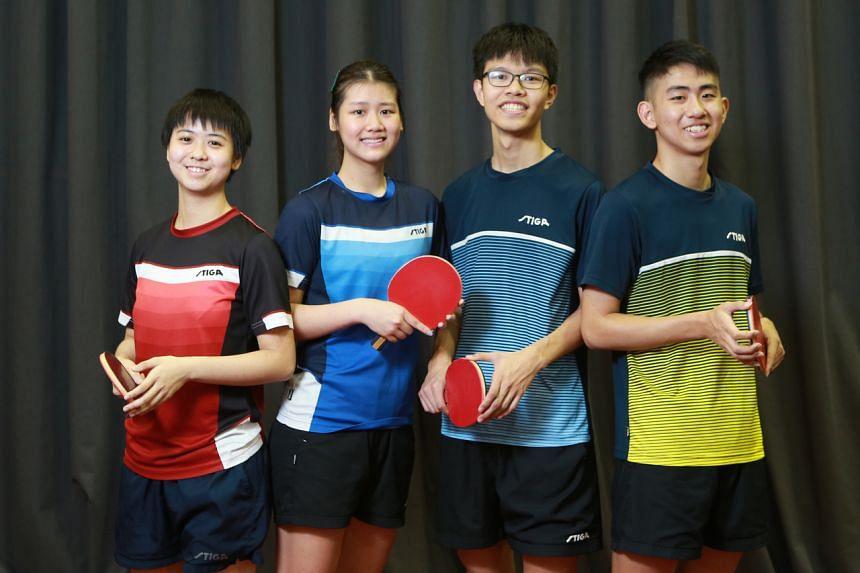 A file photo of Singapore's younger paddlers (from left) Goi Rui Xuan, Wong Xin Ru, Josh Chua and Koen Pang.