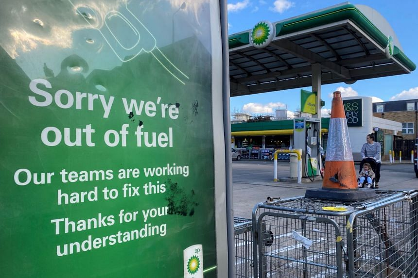 A BP petrol station that has run out of fuel is seen in south London, on Sept 27, 2021.