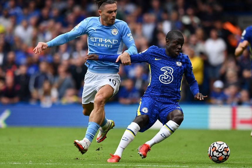Kante (right) in action against Manchester City's Jack Grealish in a Premier League match on Sept 25, 2021.