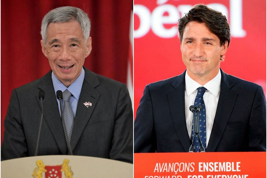 Mr Lee Hsien Loong (left) also wished Mr Justin Trudeau good health, and said he looked forward to continue working with him.