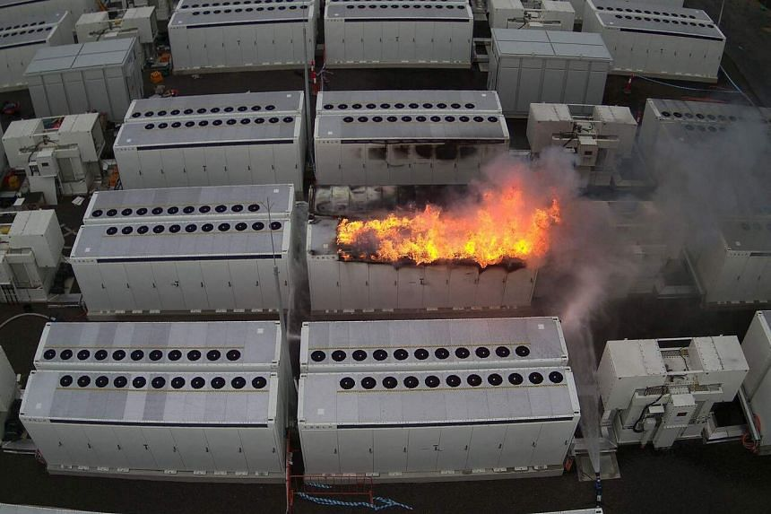 Fire from a 13-tonne lithium battery unit, or Megapack, at a Tesla battery site in Victoria, Australia, on July 30, 2021.