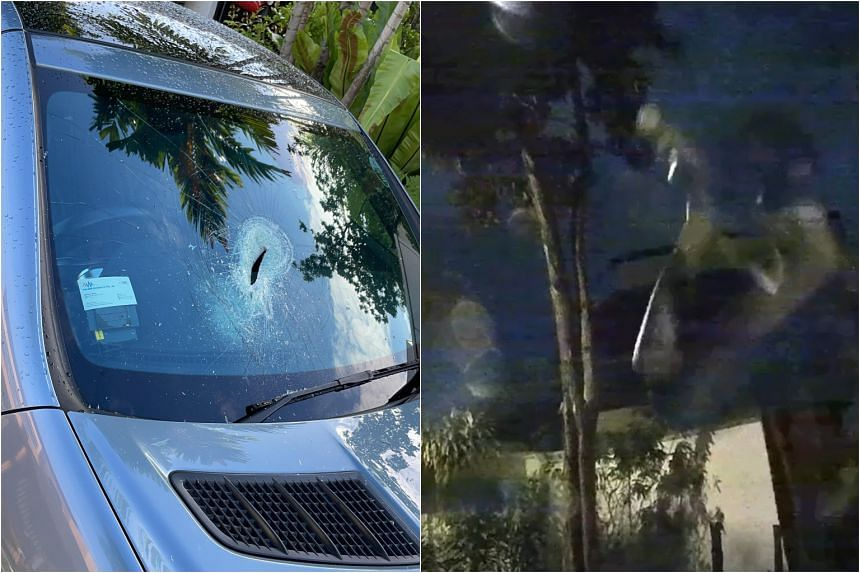 A man stopped outside a parked car in Paya Lebar at 1am on Monday (Sept 27) morning and bashed its windshield.