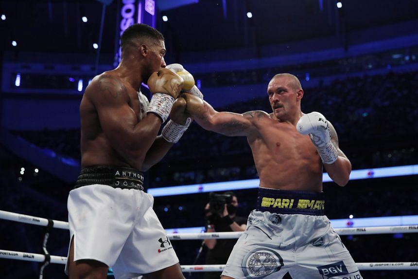 Anthony Joshua in action against Oleksandr Usyk on Sept 25, 2021.